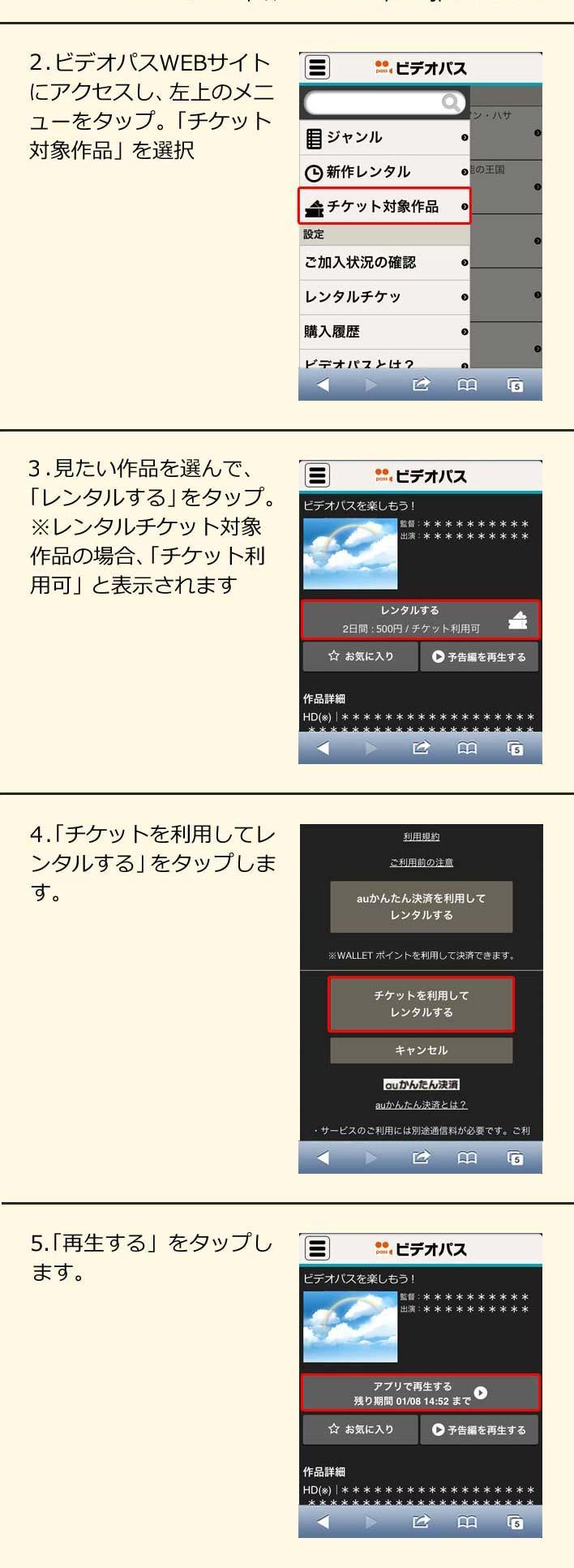 (2)ビデオパスWEBサイトにアクセスし、左上のメニューをタップ。「チケット対象作品」を選択 / (3)見たい作品を選んで、「レンタルする」をタップ。※レンタルチケット対象作品の場合、「チケット利用可」と表示されます / (4)「チケットを利用してレンタルする」をタップします。 / (5)「再生する」をタップします。
